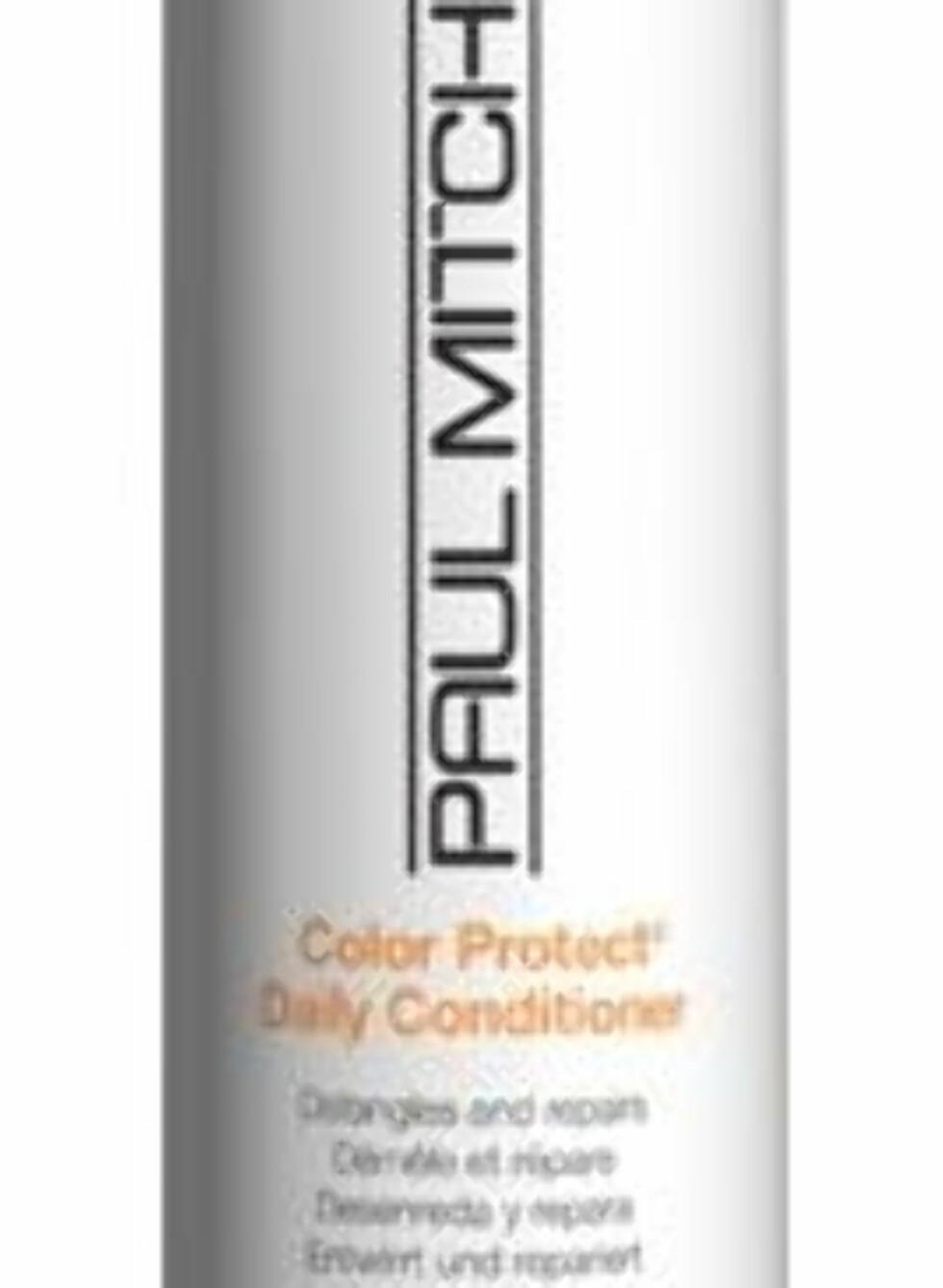 Paul Mitchell Color Protect Daily Conditioner er flokeløsende og reparerende, samtidig som det inneholder både UVA- og UVB-beskyttelse og dermed forebygger solbleking av farget hår, veil. kr 244. Foto: Produsenten