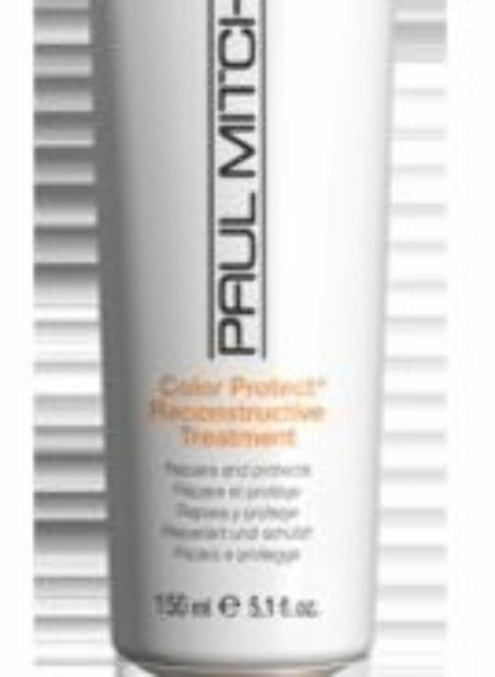 Paul Mitchell Color Protect Reconstructive Treatment er en reparerende kur som også beskytter håret mot solbleking, mekanisk slitasje og splitting av hårspissene, veil. kr 256. Foto: Produsenten