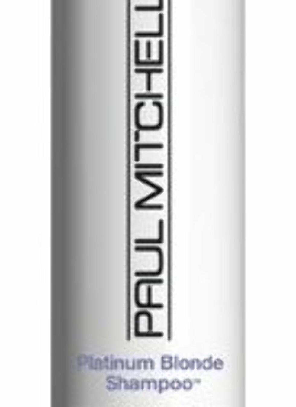 Paul Mitchell Platinum Blonde Shampoo lysner blondt, grått eller hvitt hår med sine kalde, fiolette pigmenter. Nøytraliserer gule toner og pleier håret, veil. kr 276. Foto: Produsenten