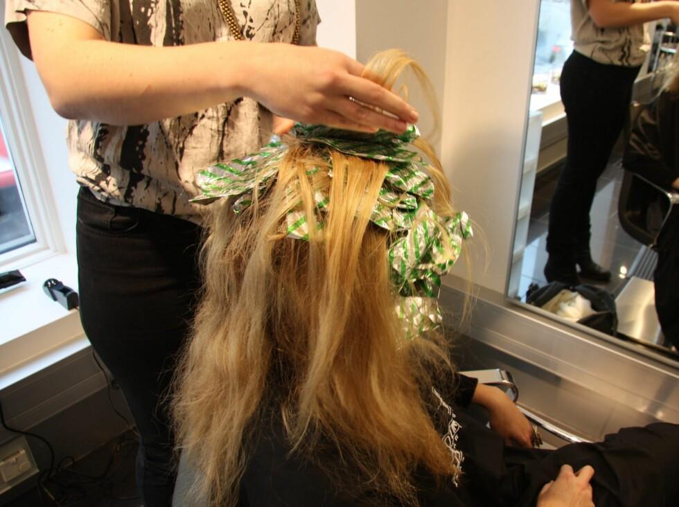 <strong>FARGE OG BLEIKING KREVER ULIK PLEIE:</strong> Hvis håret ditt er behandlet med både bleiking og farge, bør du vurdere hva du vil ta størst hensyn til, forklarer Lene Skaug, frisør hos Bel-Etage i Oslo. Foto: Aina Kristiansen