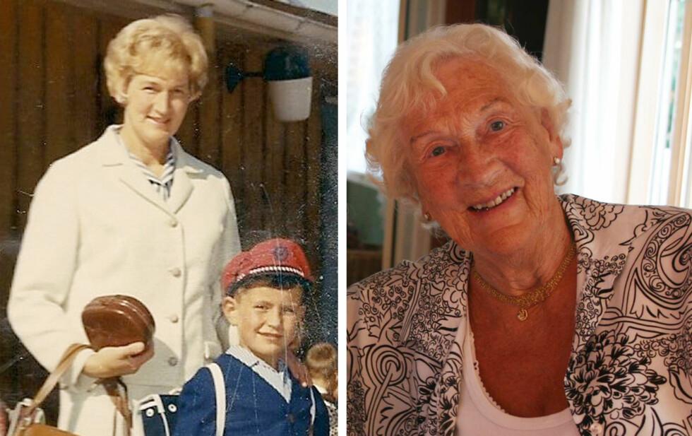 ERNI: På bildet til venstre følger Erni sønnen Gisle til sin første skoledag. Året er 1965. Til KK.no forteller Erni at hun noen ganger følte på det å være «en av de eldste mødrene». Hun fikk barn da hun var 34 år. I dag er hun 94 år, og holder seg meget godt! Foto:  Foto: Privat