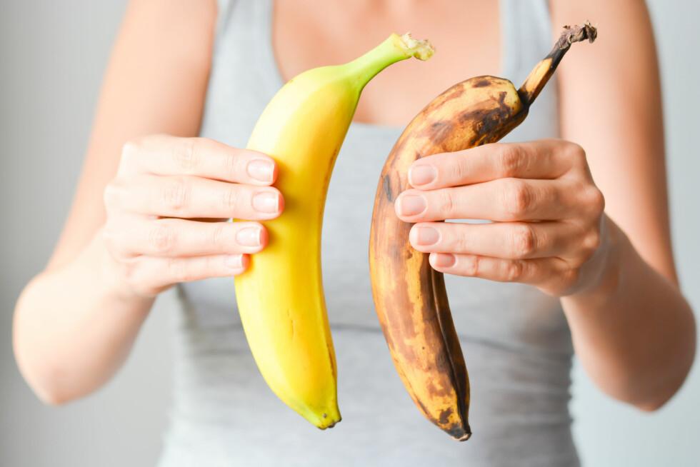 LIKE BRA: Den modne bananen er et godt valg for deg som trener, mens den grønne er fin for deg som passer vekta. Foto: Shutterstock / Ai825