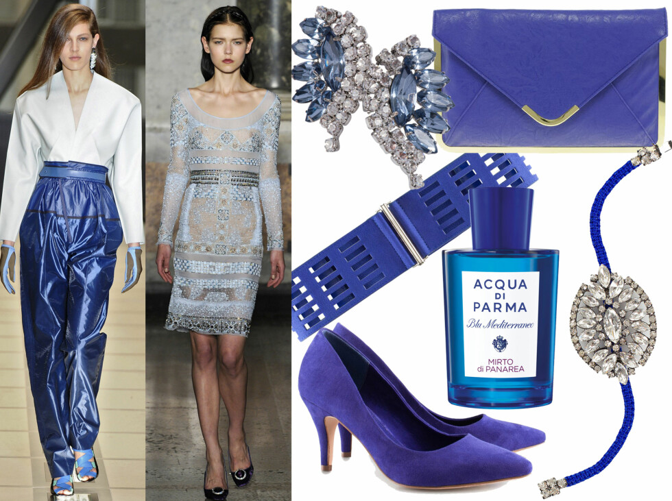<strong>BLÅTT:</strong> Friske og fine blåtoner, som vist hos Balenciaga og Pucci. Kjøpsinfo finner du i bildekarusellen. Foto: All Over Press og produsentene
