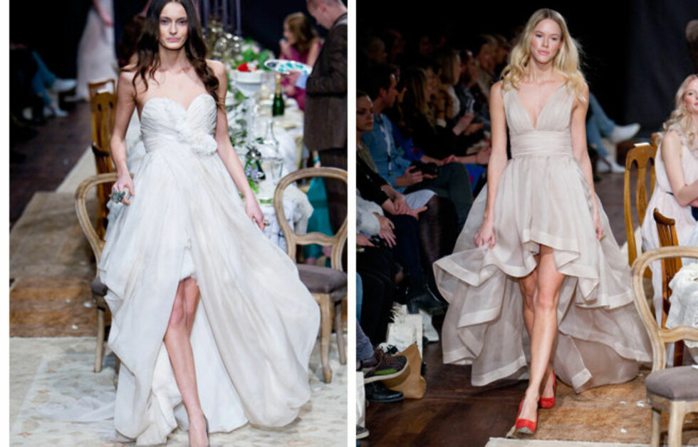 HOCKEYKJOLER: To av Leila Hafzis brudekjoler som ble vist under Oslo Fashion Week var såkalte hockeykjoler - korte foran og lange bak, akkurat som sveisen fra åttitallet (men betrakelig vakrere). Foto: Per Ervland