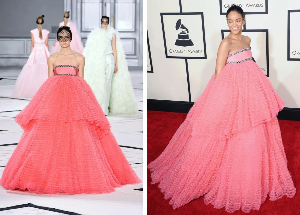 BLØTKAKE: Det ble kjolen til Rihanna (t.h.) kalt da hun møtte opp i denne på Grammy Awards. Foto: Scanpix