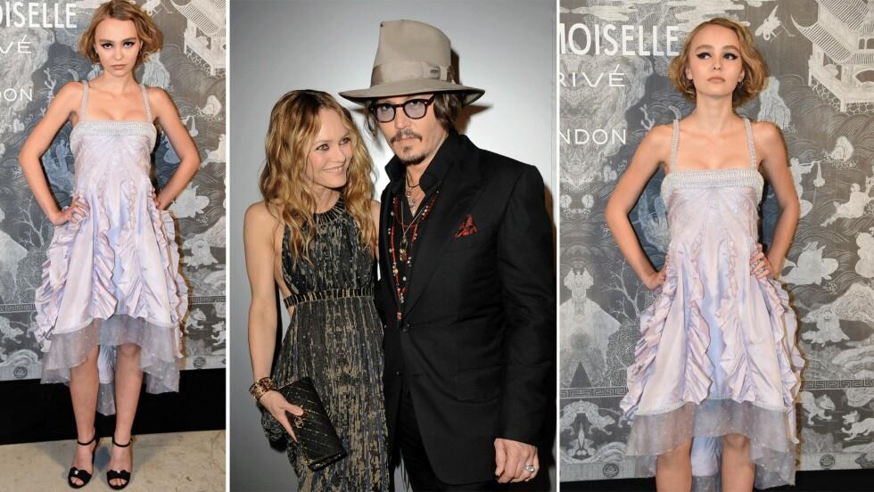 LILY-ROSE DEPP: Datteren til Johnny Depp (52) og Vanessa Paradis (42) har gjort seg bemerket hos deg franske motehuset Chanel.  Foto: Scanpix