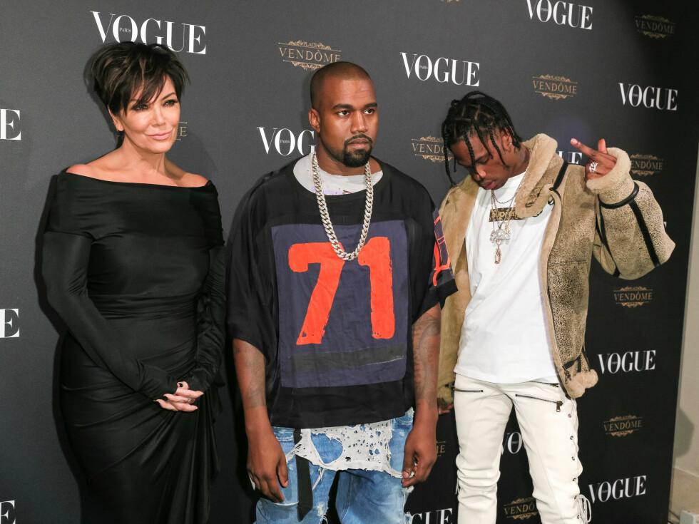 <strong>VOGUE:</strong> Kris Jenner (59), Kanye West (38) og Travis Scott (23). Foto: SipaUSA