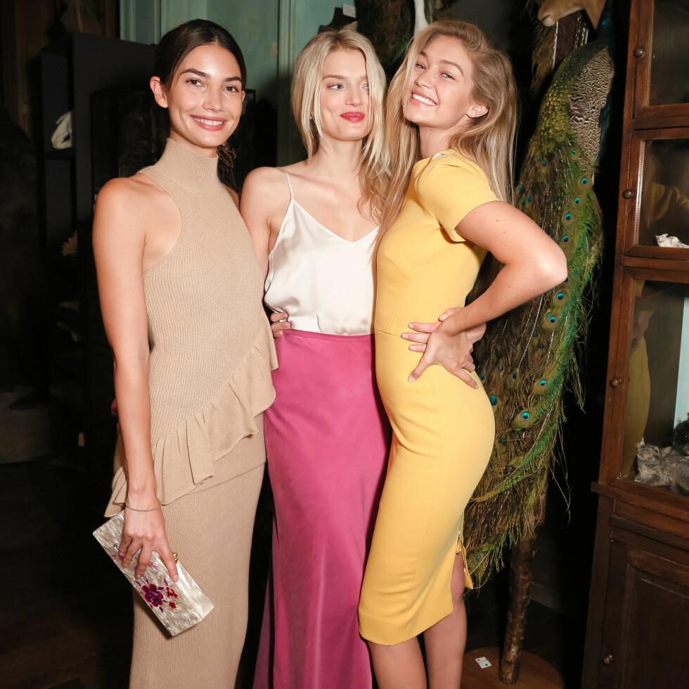 <strong>STJERNESPEKKET OPPMØTE:</strong> Modellene Lily Aldridge (29), Lily Donaldson (28) og Gigi Hadid (20) gikk både visninger og deltok på festene under Fashion Week. Foto: SipaUSA