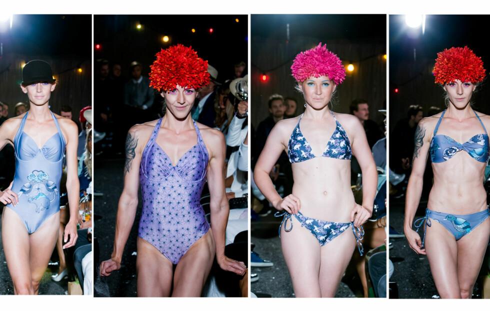 SATSER PÅ BADETØY VI HAR LYST TIL Å GÅ I: Fam Irvoll har designet badetøy for første gang, og viste badedrakter og bikinier i freshe farger med print som mus, roser og maur, under Oslo Fashion Week onsdag kveld.   Foto: Per Ervland