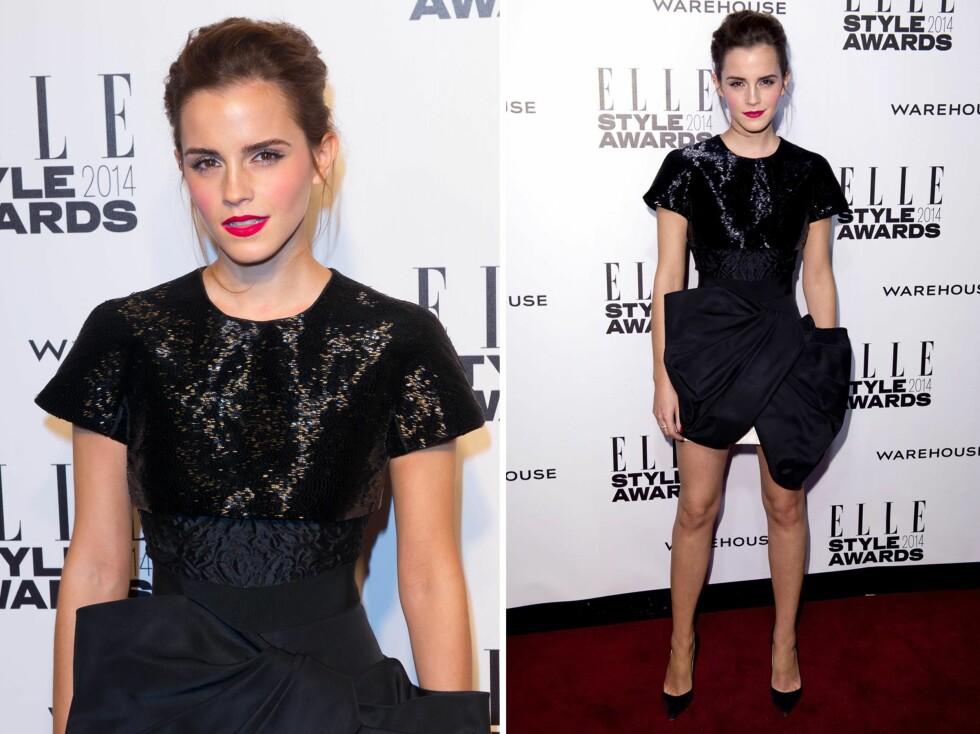 FLOTT: Emma Watson i en sexy, litt alternativ minikjole fra Giambattista Valli. Foto: All Over Press