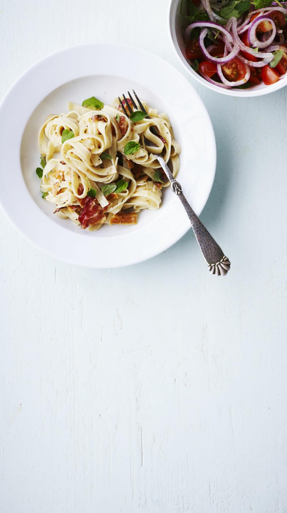 <strong>ITALIENSK:</strong> Pasta di pancetta – det er så man føler seg litt italiensk bare ved å si det. Foto: All Over Press