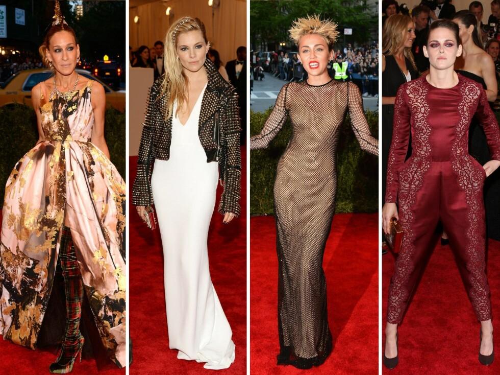 DE VILLESTE PÅ MET-GALLA: Sarah Jessica Parker, Sienna Miller, Miley Cirus og Kirsten Stewart var definitivt punka på den røde løper. Foto: All Over Press