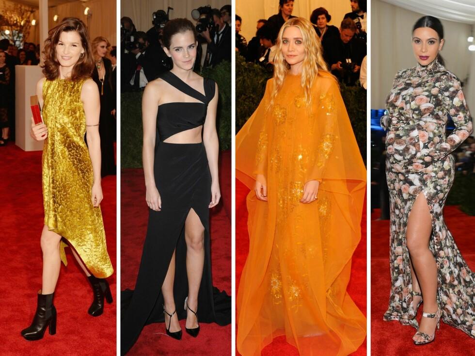 PUNKA GJESTER: Hanneli Mustaparta, Emma Watson, Ashley Olsen og Kim Kardashian tolket kleskoden ulikt. Foto: All Over Press