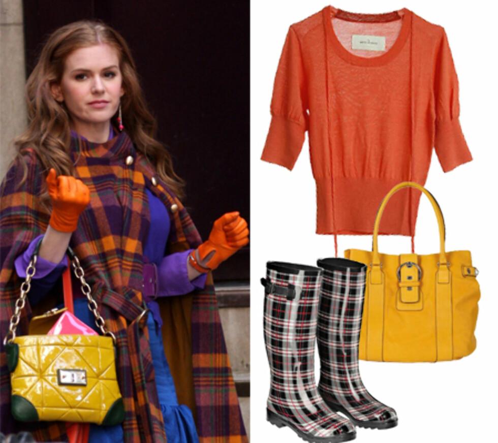 Isla Fisher hadde dette, fargesprakende antrekket i filmen «Confessions Of A Shopaholic». Stjel stilen med oransje topp (kr 800 by Malene Birger), veske i knalltgult skinn (kr 1800, Seqoia) og rutete støvler fra KappAhl.