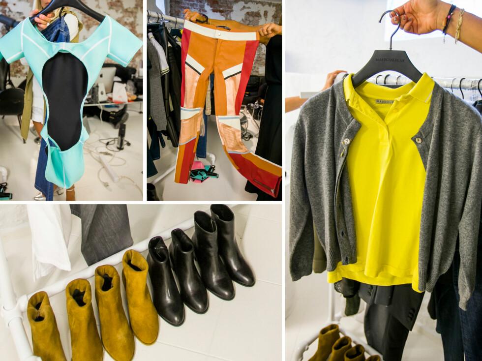VÅR/SOMMER 2014: Her ser du noen av de nye plaggene fra Mardou & Dean for neste vår og sommer. Nytt av sesongen er at designerne satser på badetøy, mer fargesterke skinnbukser, sko - og selvsagt, piqueskjorten. Foto: Per Ervland