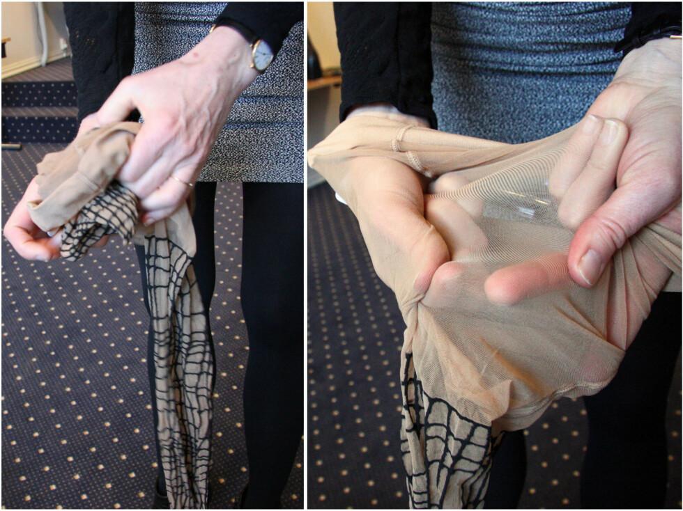 FØR BRUK: Krøll sammen strømpebeina slik at de blir lettere å ta på. Merker og ujevnheter i strømpebuksa kan du lett få bort selv ved å gni forsiktig på strømpen.  Foto: Silje Ulveseth