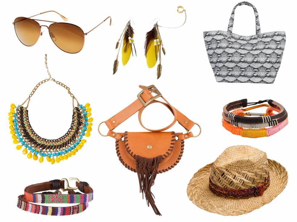 <strong>ROCK OPP MED ACCESSOIRER:</strong> Kule kjeder, armbånd, solbriller og vesker kan gjøre mye med festivalantrekket ditt. Fra topp venstre - solbriller H&M (80 kr), kjede fra Zara (250 kr), armbånd fra H&M (50 kr), øredobber fra Goldmine (900 kr), veske fra Cubus (150 kr), hatt fra Zara, armbånd fra Cubus (70 kr), veske fra Bik Bok (249 kr).  Foto: Produsenten