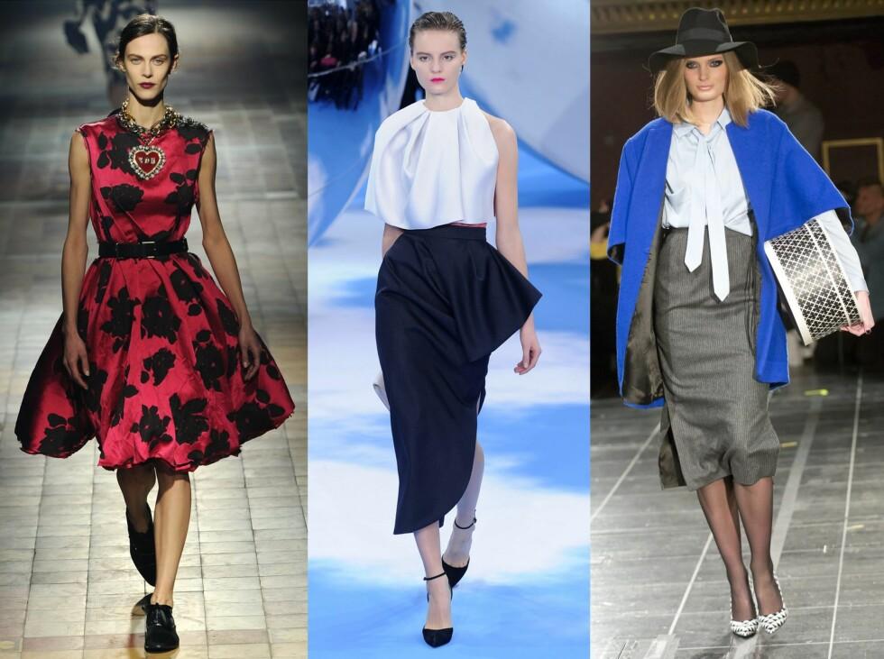 LADYLIKE: Lanvin, Christian Dior og By Malene Birger var blant dem som viste elegante og feminine antrekk på catwalken. Foto: All Over Press
