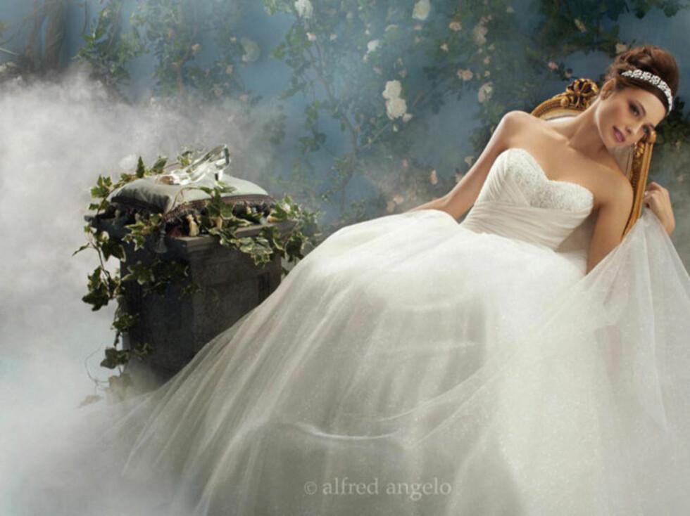 ASKEPOTT: Denne fantastiske kjolen er det man oftest forbinder med en eventyrkjole. Tusen lag med tyll og en tiara. Foto: Alfred Angelo.com