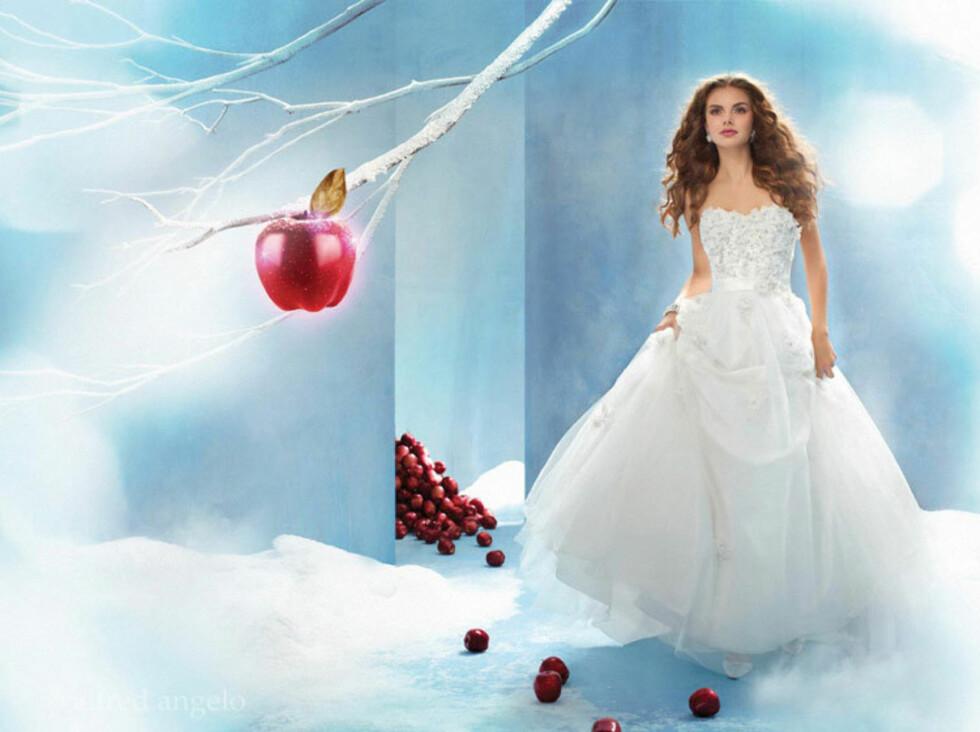 SNØHVIT: På bryllupsdagen skal du føle deg som en prinsesse, og med disse kjolene kan det faktisk se ut som du kommer rett ut av et eventyr. Foto: Alfred Angelo.com