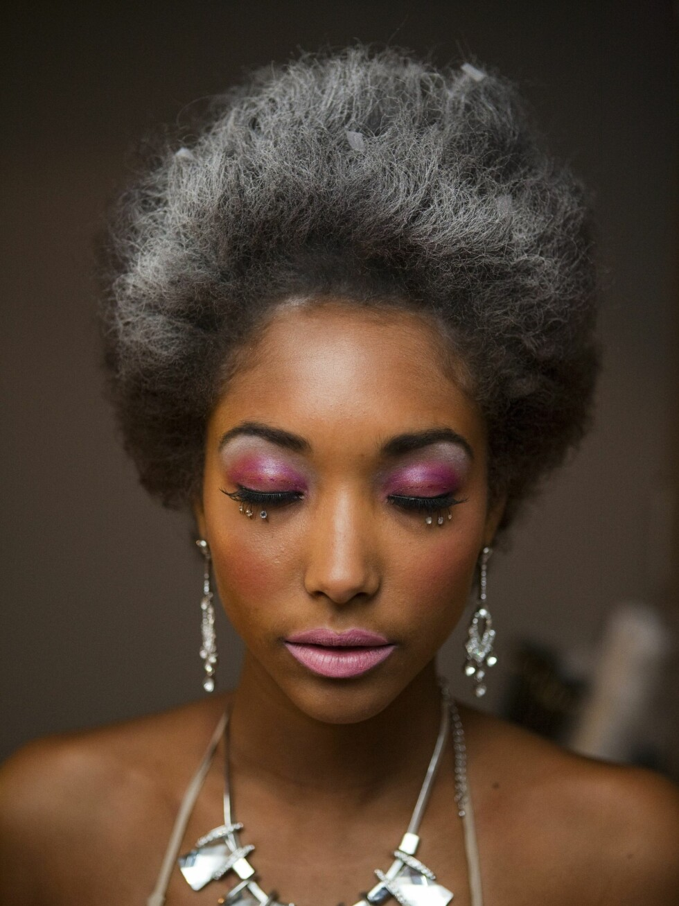 Rosa øyne og rosa lepper.  Foto: Per Ervland
