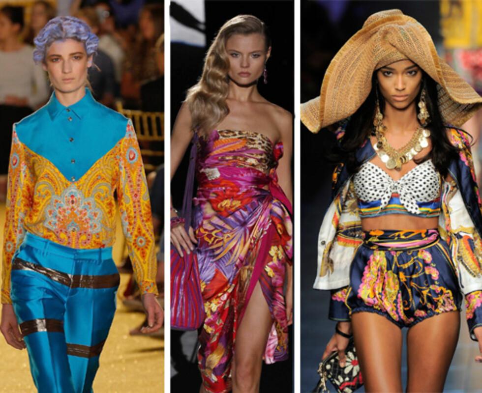 SOMMERLIG TREND: Både under visningene til Thakoon (t.v.), Salvatore Ferregamo og D&G var modellene kledd opp i kjoler, bluser og shorts med fargerike silkeskjerf-trykk.  Foto: All Over Press