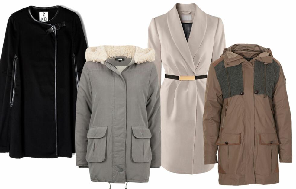 LEKRE HØSTJAKKER: Cape, dunjakke eller kåpe? Kjøpsinfo og flere fine jakker finner du i bildekarusellene lenger ned i saken. Foto: Produsentene