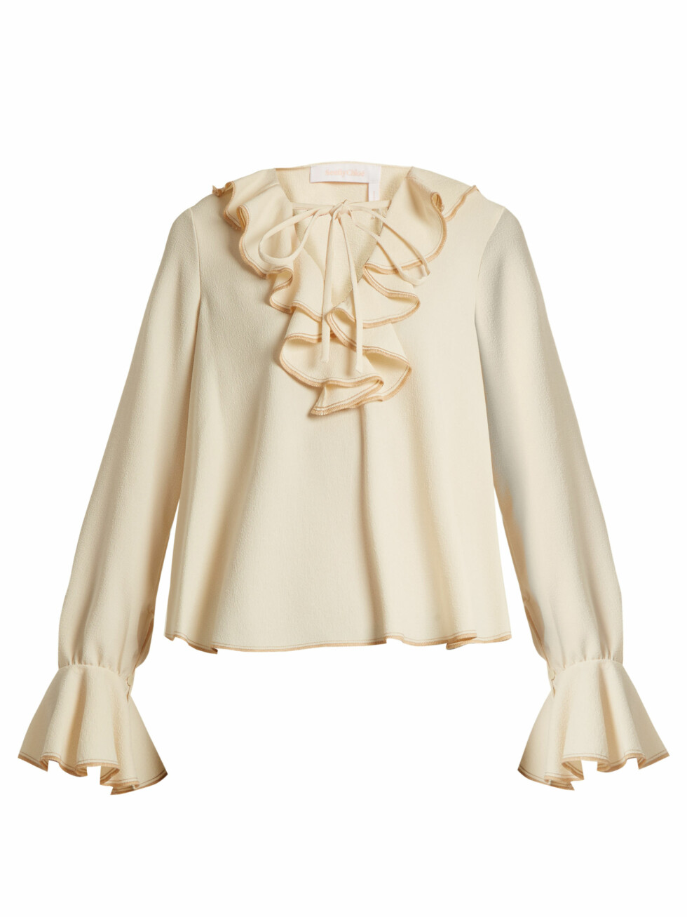 Overdel fra See By Chloe via Matchesfashion.com | kr 1865 | http://www.matchesfashion.com/intl/products/See-By-Chlo%C3%A9-Ruffled-stretch-crepe-top--1152923
