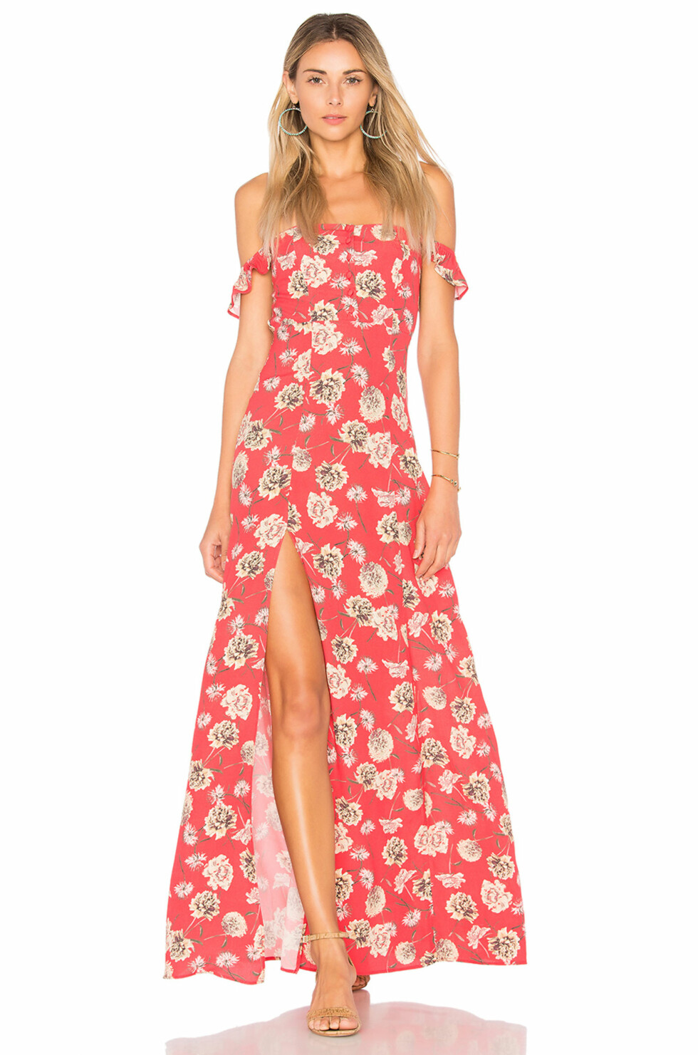 Kjole fra Flynn Skye via Revolve.com   kr 1682   http://www.revolve.com/flynn-skye-bardot-maxi-dress-in-floral-fireworks/dp/FLYN-WD167/?d=Womens&d=Womens&page=1&lc=33&itrownum=11&itcurrpage=1&itview=01&plpSrc=/r/Brands.jsp?&s=c&c=Dresses&color%5B%5D=red&color%5B%5D=pink&color%5B%5D=red&sortBy=featured&product=FLYN-WD167&