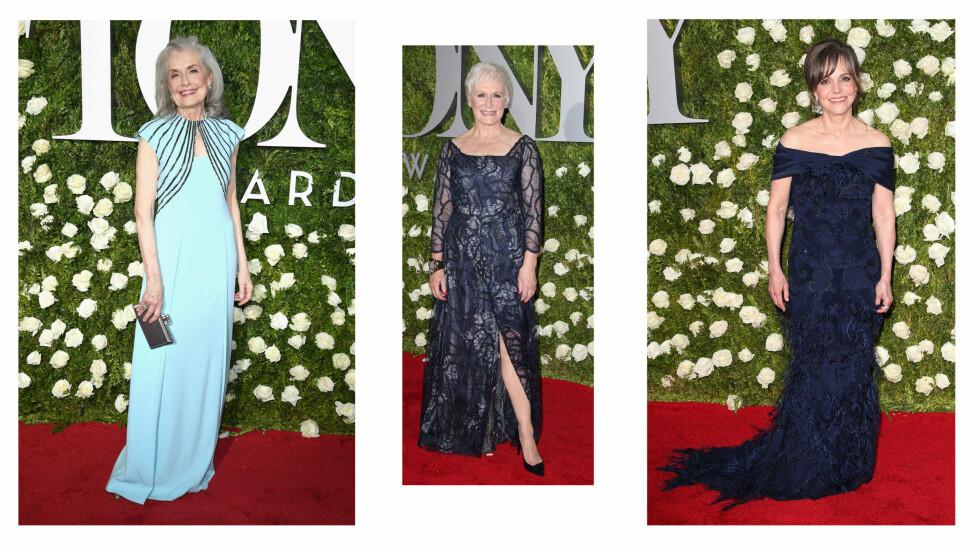 TONY AWARDS: Vi digger de classy kjolene til skuespillerne Mary Beth Peil, Glenn Close og Sally Field - som alle har bikket 70 år! Se stor bildekarusell under! Foto: NTB Scanpix