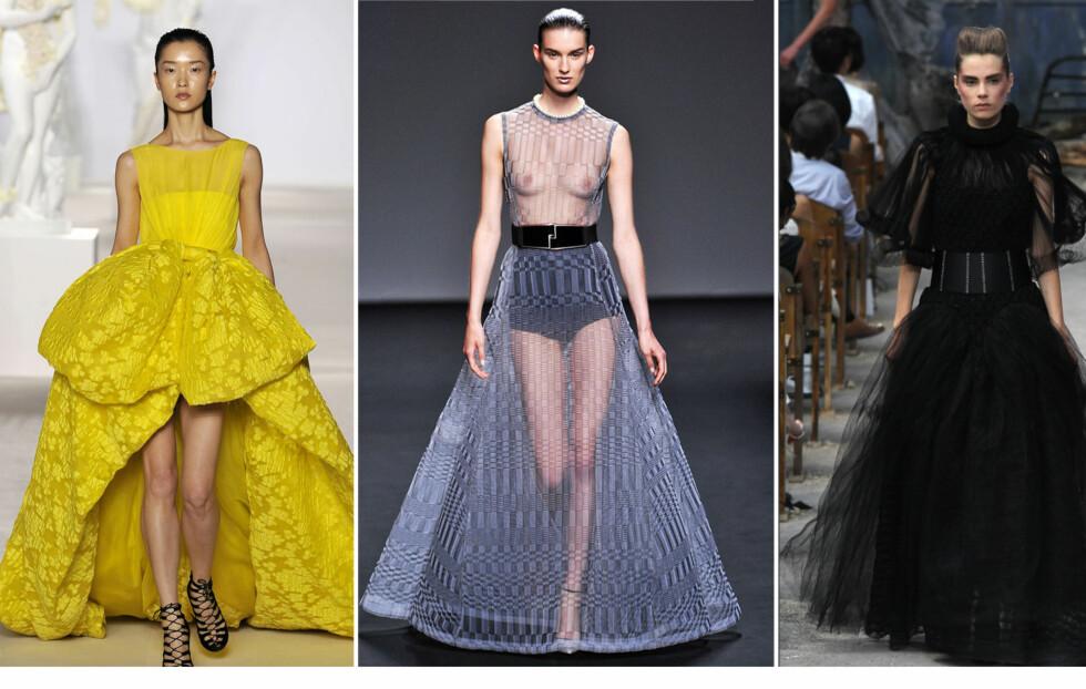 BARE BRYSTER OG STORE SKJØRT: Her fra haute couture-visningene til Giambattista Valli, Dior og Chanel.  Foto: All Over Press
