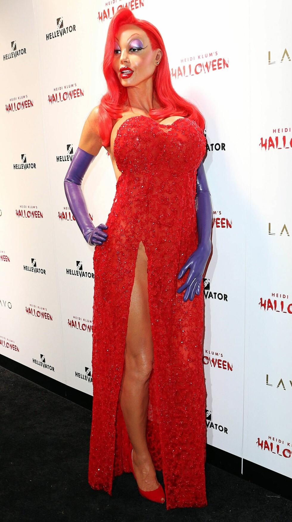 ELLEVILT: Vi kommer fremdeles ikke over Jessica Rabbit-kostymet til Heidi Klum. Foto: Pa Photos