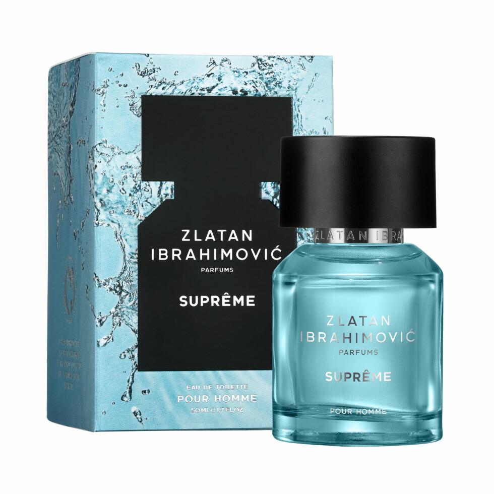 FOR MENN: Zlatans andre duft for menn har fått navnet Suprême pour homme, og skal ifølge fotballspilleren få deg til å drømme om digg musikk og det å gå barbeint på stranden.