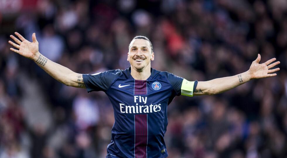 PÅ TOPPEN: Zlatan har spilt for franske PSG siden 2012 - i begynnelsen av august blir han å finne i Rio de Janeiro i Brasil når det svenske landslaget skal vise hva de er gode for under Rio-OL. Foto: NTB Scanpix