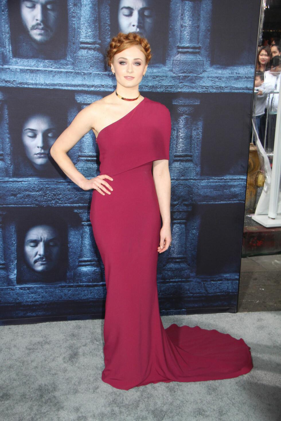 Sophie på Los Angeles premieren av sesong 6 av Game of Thrones. Foto: Buzzfoto.com
