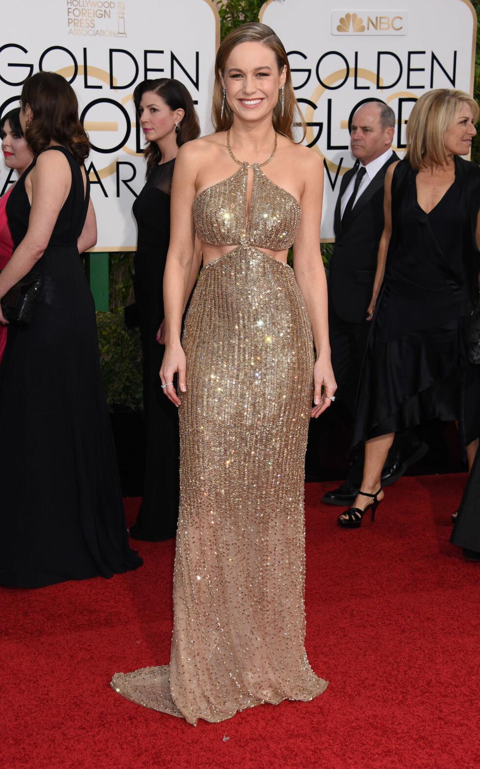 <strong>BRIE LARSON:</strong> Skuespilleren hadde kledd seg i gullpaljetter under Golden Globe Awards i januar. Foto: NTB Scanpix