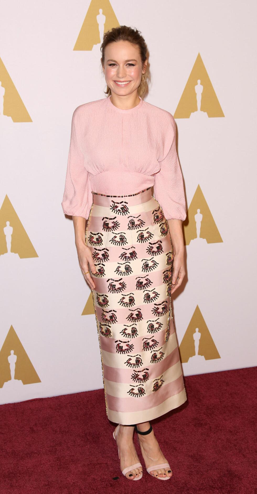 <strong>BRIE LARSON:</strong> Under Oscar-nominasjonslunsjen i begynnelsen av februar så 26-åringen slik ut. Foto: NTB Scanpix