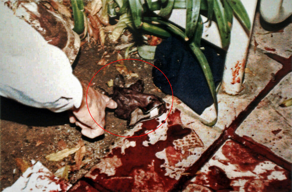 KONTROVERSIELT: Dette bildet ble tatt 13. juni 1994, og viser LAPD-politimann Mark Fuhrman som peker på den etter hvert så berømte hansken - som ble lagt fram som bevis i saken. O.J. Simpson-saken er i ettertid blitt et skolebokeksempel på hvordan man IKKE skal te seg på et åsted.  Foto: NTB Scanpix