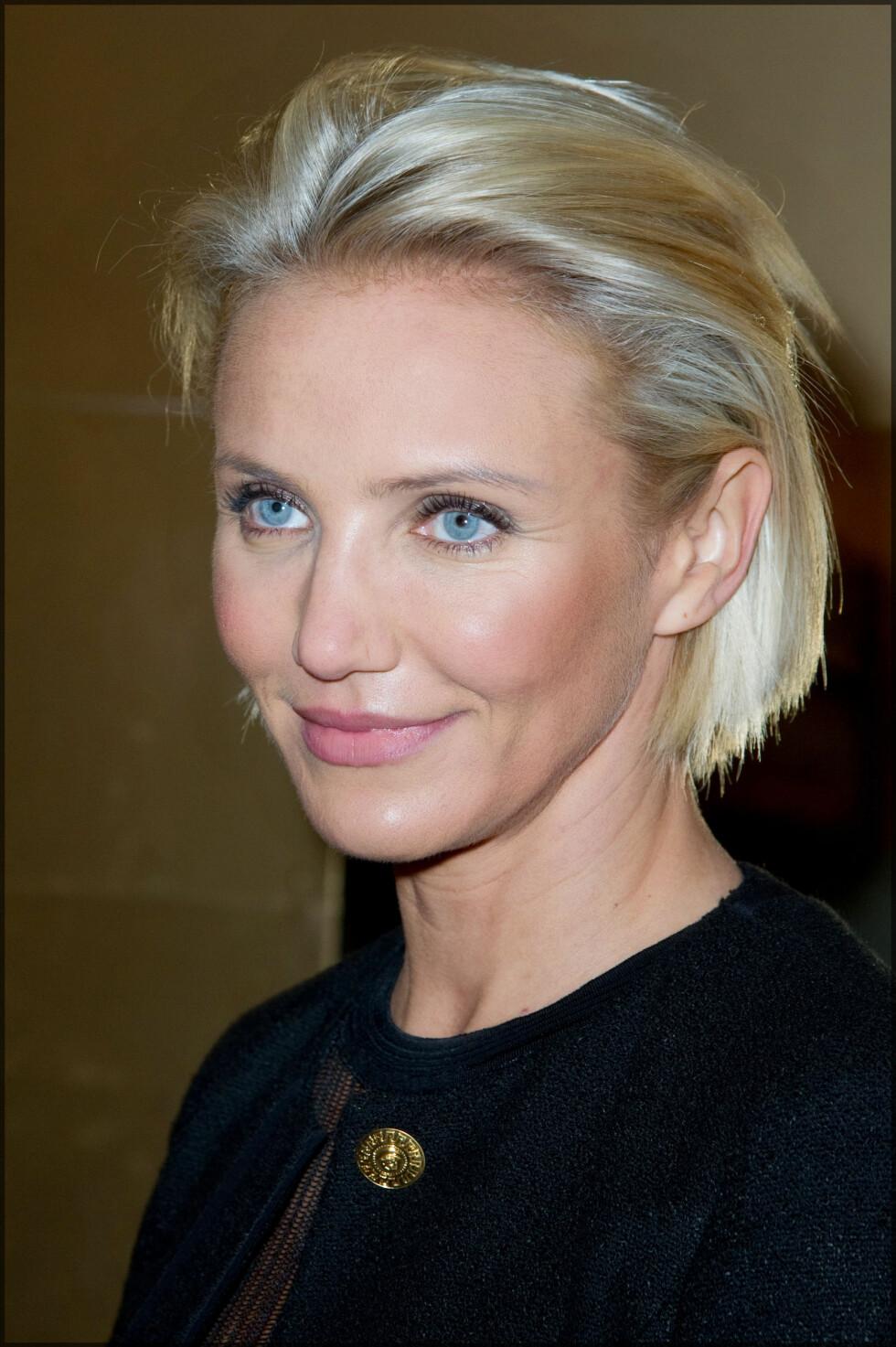 CAMERON DIAZ: Den flotte skuespilleren har alltid vært tilhenger av korte hårfrisyrer, og digger bob-looken. Her fra Paris Fashion Week i 2012. Foto: NTB Scanpix
