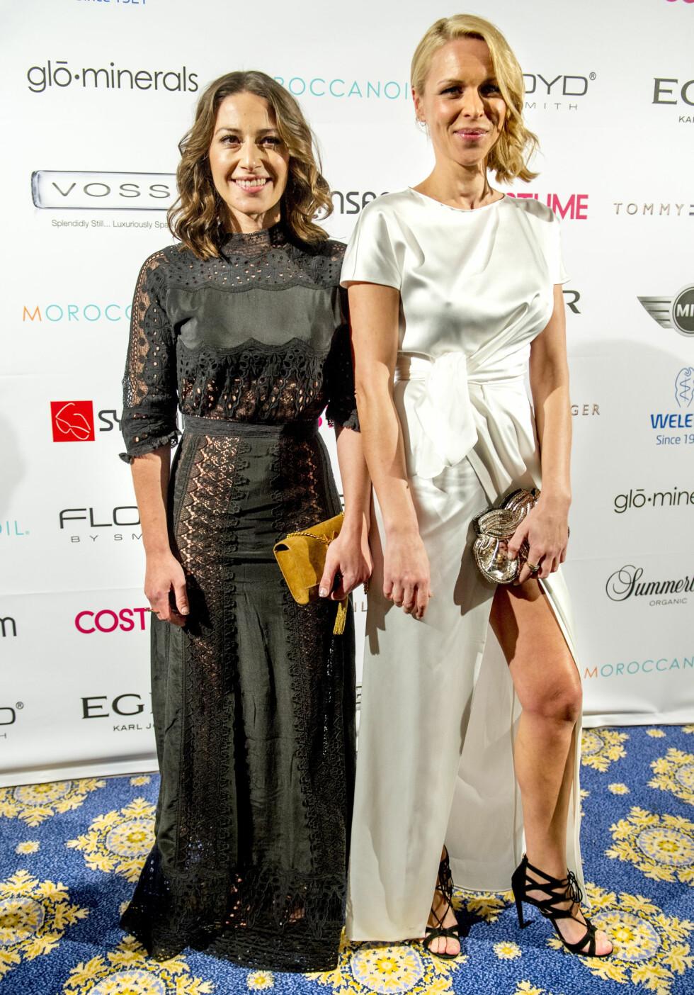 PIA TJELTA & VANESSA RUDJORD: Skuespilleren og skribenten poserte på rød løper under fjorårets Costume Awards. Begge er tilhenger av lob-looken. Foto: Helge Mikalsen for VG / NTB Scanpix