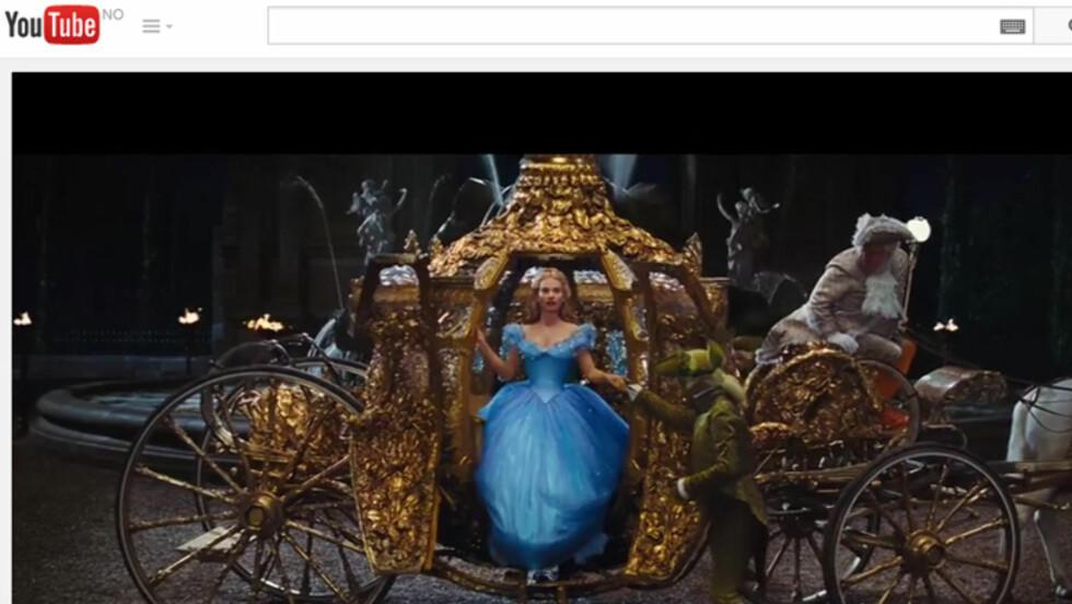 FRA DOWNTON ABBEY TIL FILM: Lily James, kjent som Lady Rose i Downton Abbey, spiller Askepott i den nye spillefilmen basert på den gamle klassikeren.  Foto: Youtube.com