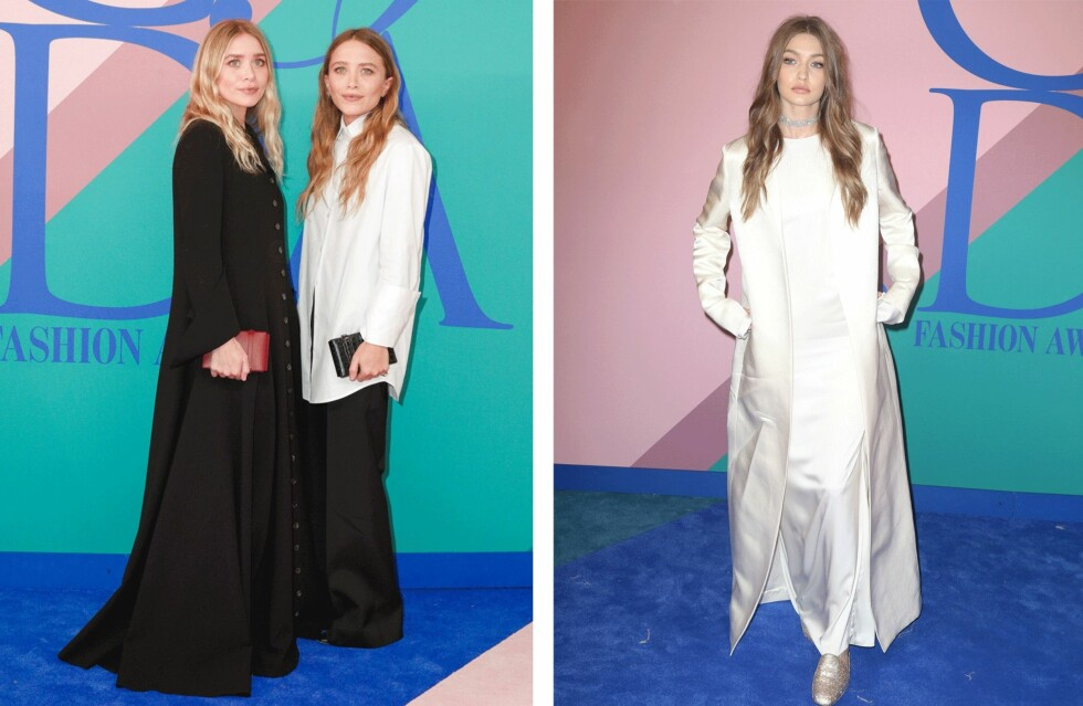 CFDA AWARDS: Ashley Olsen, Mary-Kate Olsen og Gigi Hadid. Foto: Scanpix