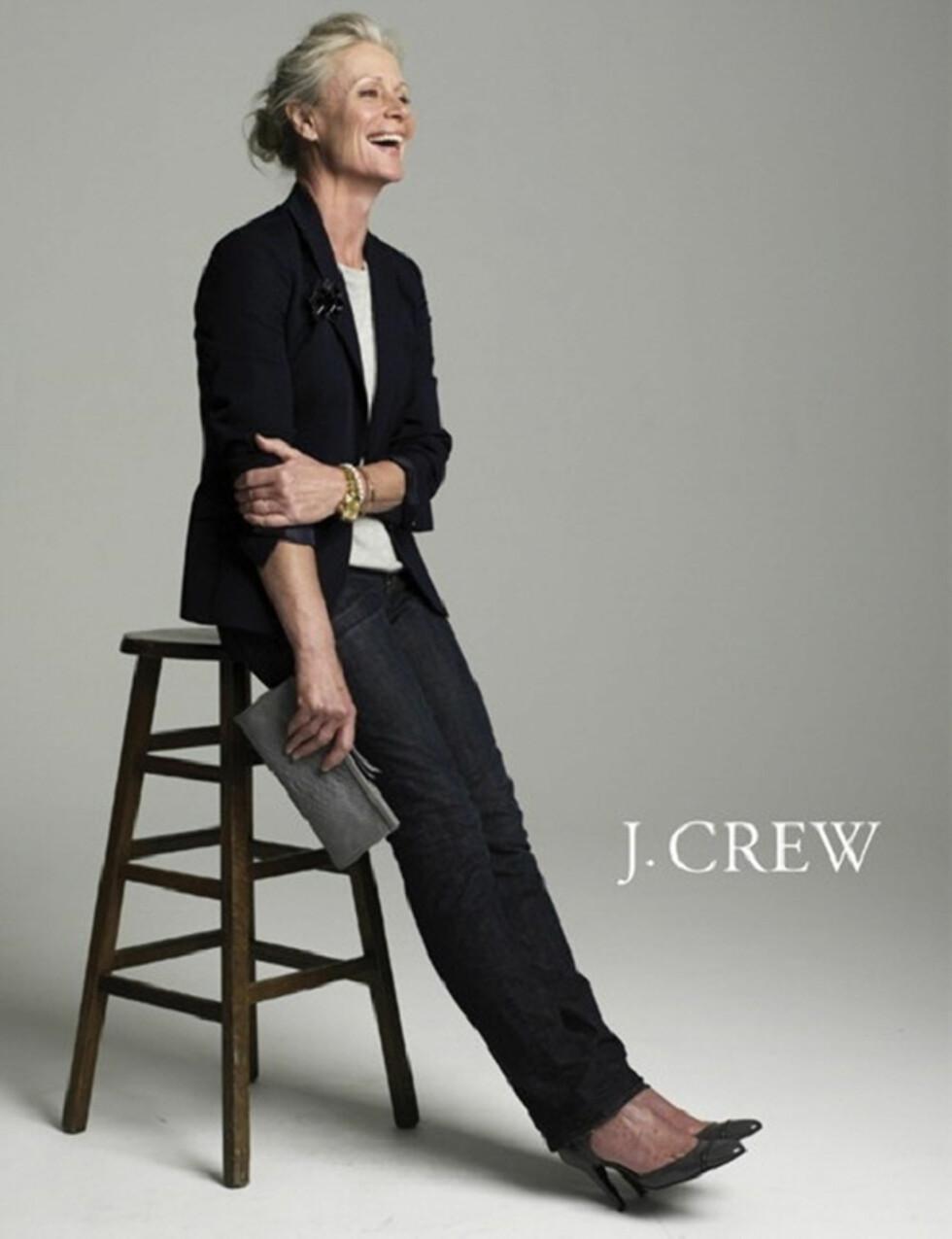 PIA GRØNNING (67): Dansk skuespiller, interiørdesigner og modell. Har jobbet med film i Hollywood og som modell for flere magasiner og klesmerker. - Jeg ønsker å bli eldre med verdighet. Jeg føler meg på mitt absolutt beste nå, med rynker og alt, har hun sagt til Everythingzoomer.com. Foto: Faksimile J. Crew