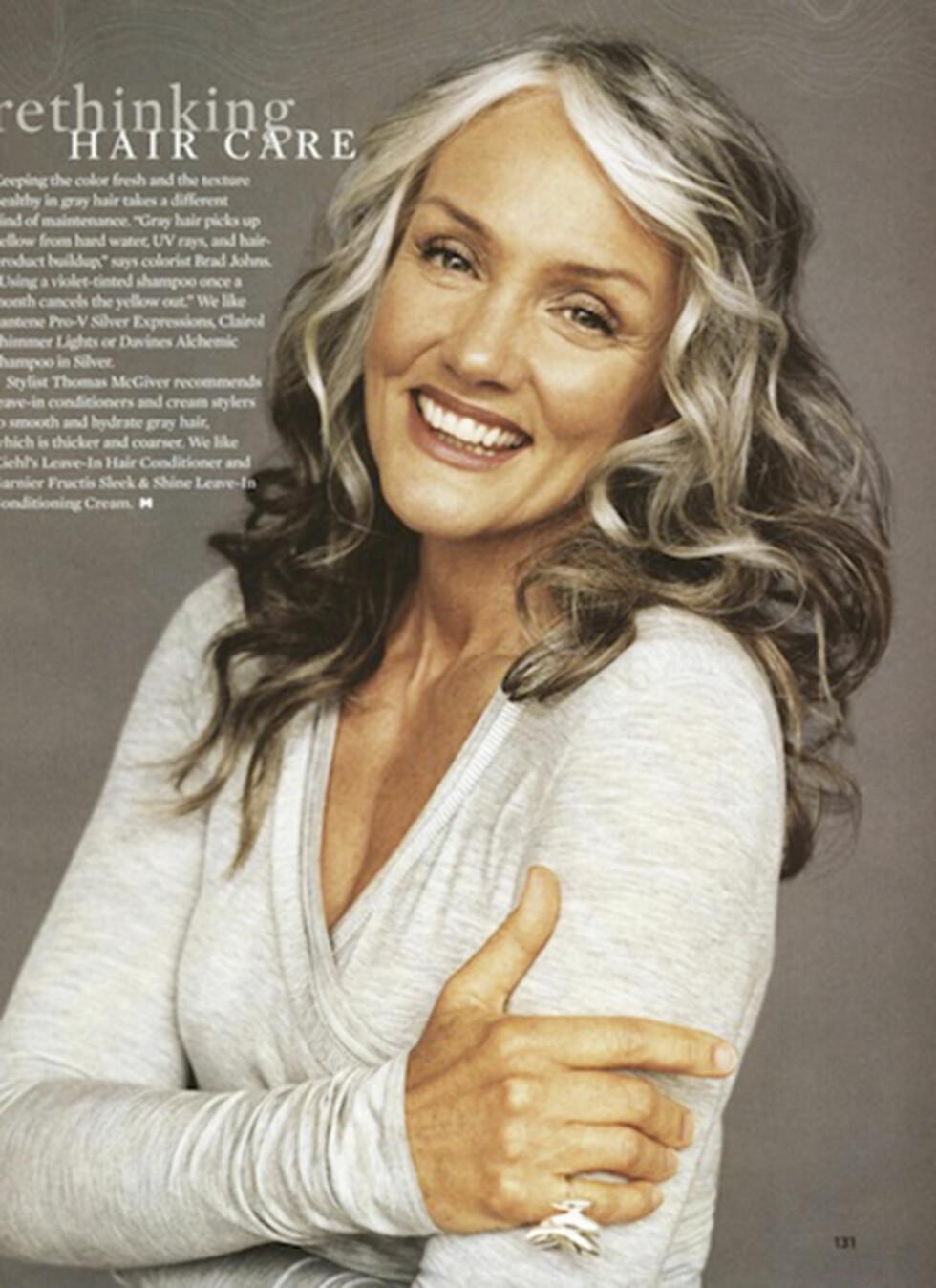 CINDY JOSEPH (66): Amerikansk modell, stylist og gründer. Modellkarrieren skjøt fart da hun som 49-åring bestemte seg for ikke lenger å farge sine sølvgrå lokker. Hun har siden hatt oppdrag for en rekke merker og magasiner. - Ikke forsøk å skjule rynkene, det går ikke. Bruk mindre sminke på huden, og mer fuktighet. Og ha tidsnok fokus på god helse og livsglede som gir en bedre alderdom, har hun sagt til Huffington Post. Foto: Faksimile: More Magazine