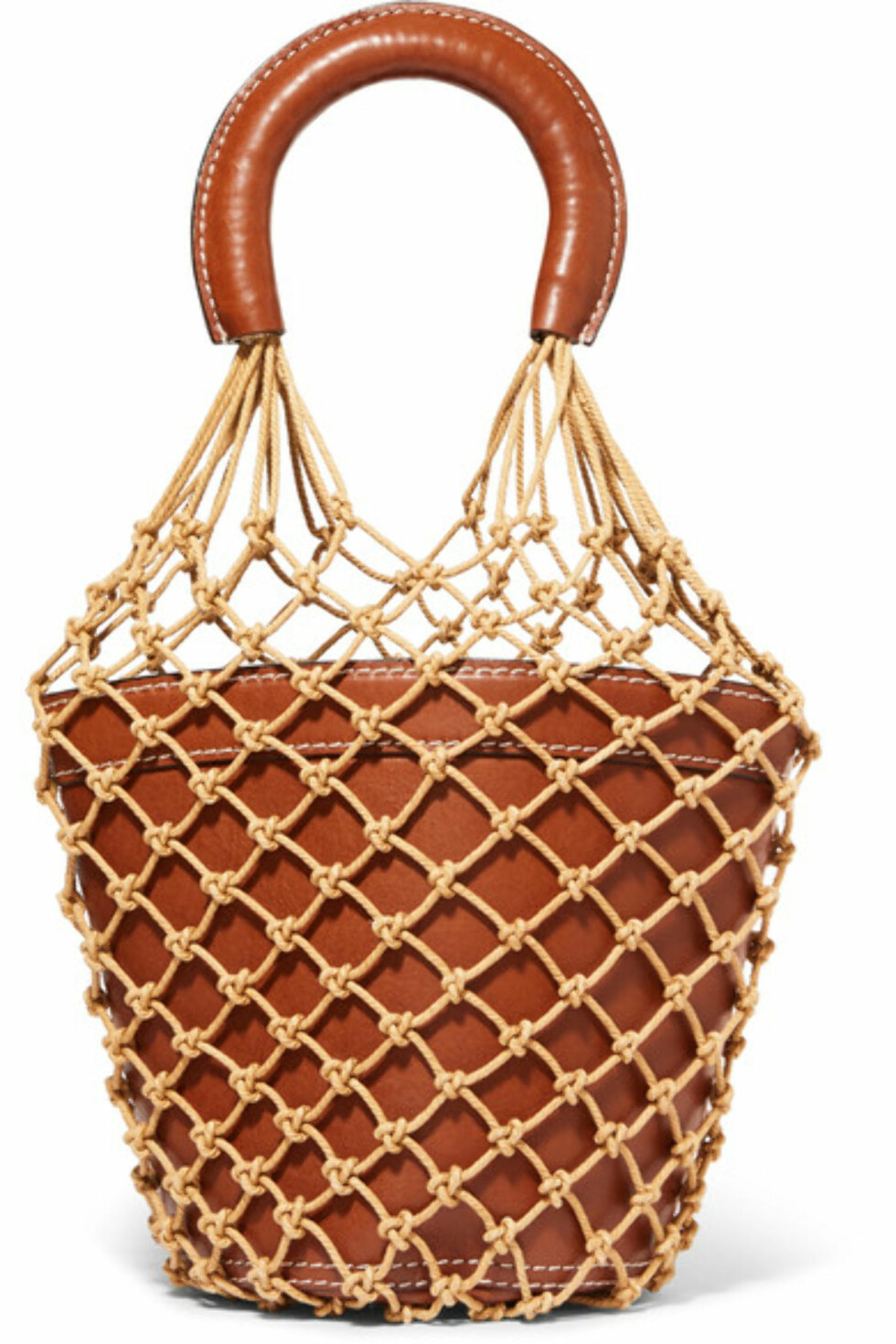 Nett-veske fra Staud via Net-a-porter.com | kr 4483 | https://www.net-a-porter.com/no/en/product/898400/Staud/moreau-macrame-and-leather-bucket-bag