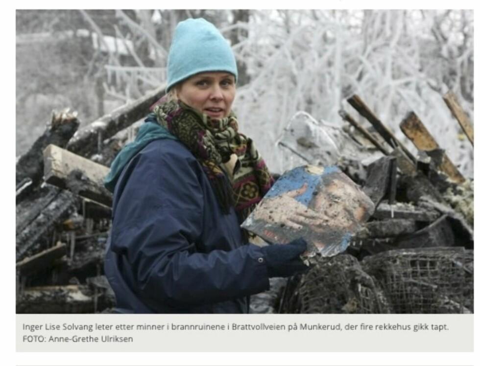 I RUINER: Dette klippet er hentet fra lokalavisen Nordstrands Blad, og viser Inger Lise som står i ruinene av huset sitt. Foto: Privat