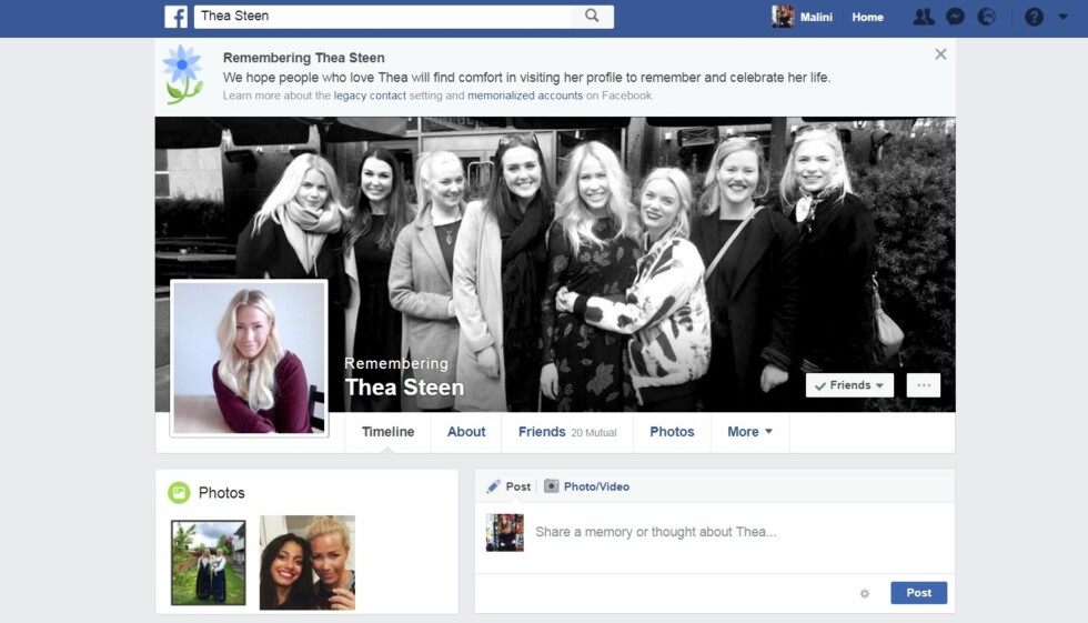 LEVER VIDERE PÅ SOSIALE MEDIER: Skribent og blogger Thea Steen gikk bort 17. juli 2016, etter å ha tapt kampen mot kreften. Familien hennes har latt minnet hennes leve videre på Facebook, Instagram og via bloggen hennes Theasteen.com Foto: Skjermdump Facebook