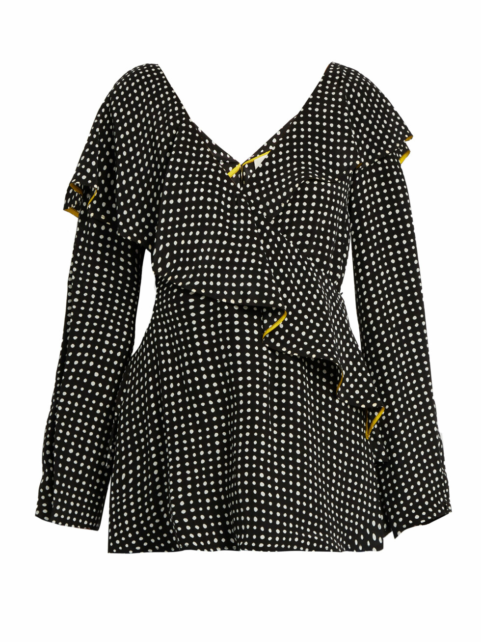 Topp fra Diane von Furstenberg via Matchesfashion.com | kr 1260 | http://www.matchesfashion.com/intl/products/Diane-Von-Furstenberg-Fluted-lapel-polka-dot-print-wrap-silk-blouse-1098247