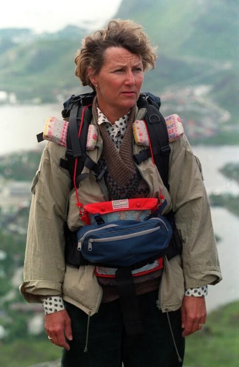 TURHJERTE: Daværende kronprinsesse Sonja på fjelltur i Lofoten i 1989. Vi er mange som lar oss inspirere av dronningens engasjement og iver for den norske fjellheimen. Foto: NTB Scanpix