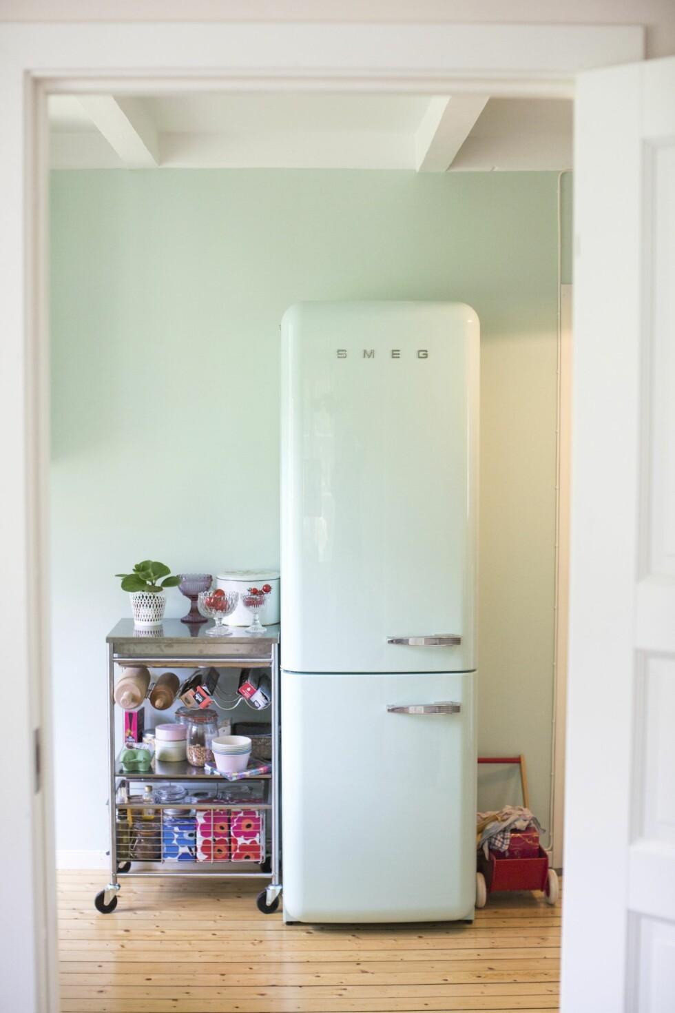 Det turkise kjøleskapet er ikke kjøpt lokalt.... Foto: Mariell Øyre